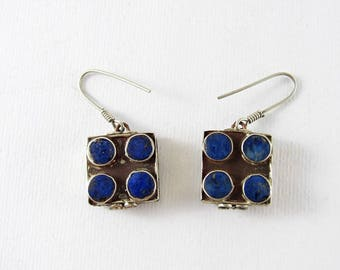 Old silver and lapis earrings
