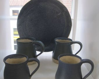 Blue and white stoneware mug
