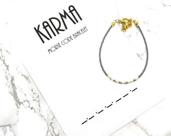 KARMA Morse Code Bracelet, friendship bracelet, dainty fine beaded bracelet, morse code jewelry, minimalist bracelet, best friends bracelet