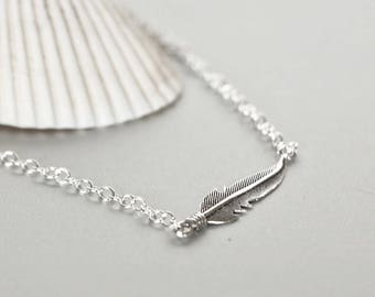 Sterling Silver Anklet, Silver Feather Anklet, Feather Anklet, Bohemian Anklet, Ankle Bracelet, Womens Gift, Gypsy Anklet, AS106