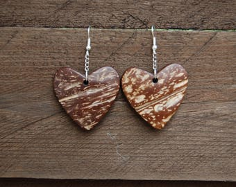 coconut heart earring