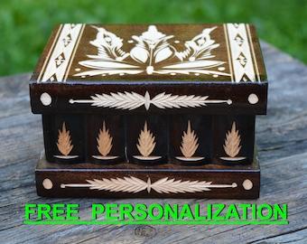 Necklace jewelry box mirror, girls jewelry box small gift, secret stash box. personalized SECRET BOX with lock compartment, Puzzle Box