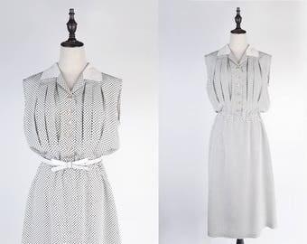 Black Polka Dot Notched Collar Sleeveless White Vintage Dress Size M