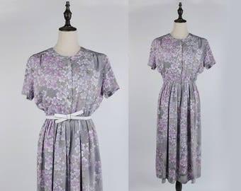 Vintage Dress, Upcycled Vintage Dress, Vintage Japanese Dress, Violet Flower Print Short Sleeves Grey Women Dress Size S-M
