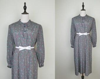 Pink Vintage Dress Green Leaf Print Ruff Collar Cuff Sleeves Size S-M