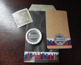"""Magnet """"Thank you teacher"""" cabochon resin 25 mm with gift packaging and thank you card"""