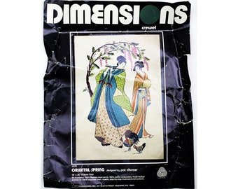 Vintage Crewel Embroidery Kit, Dimensions 1076, Pat Zitomer, Asian Embroidery, Oriental Spring, Mid Century, Linen, Wool