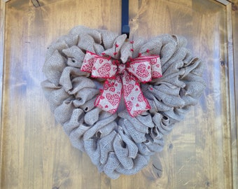 Valentine Wreath, Front Door Wreath, Farmhouse Wreath, Burlap Wreath, Red Wreath, Heart Wreath, Door Wreath, Valentine's Day Decor, Rustic