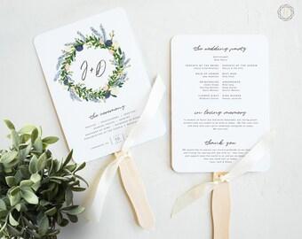 Wedding Program Fan, Wedding Program, Order of Service, Ceremony Program, Wedding Timeline, Program Timeline, Floral Wedding Program, #BGW