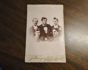 "Old Victorian Sepia Photograph - 5 Young Gentlemen - 4 1/8"" X 6 1/2"" - J B Granger's Studio - Sparta IL - Great Image!"