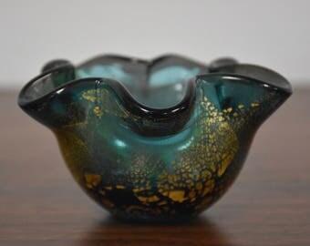 Murano Green Gold Fleck Bowl