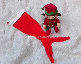 Crochet Mermaid Tail Christmas Stockings