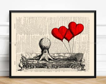 Heart Octopus, Octopus on Sofa, Wife Woman Gift, 8th Anniversary Gift, Valentines Day, Her 30th Birthday, Teen Girl Art Gift Love Poster 406
