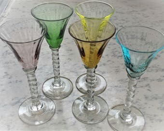 1960s Harlequin Cordial Glasses set of 5