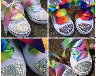 Ladie's blinged out shoes, blinged converse style, gay pride shoes, gay pride rainbow, rainbow shoes, blinged trainers, bling pumps