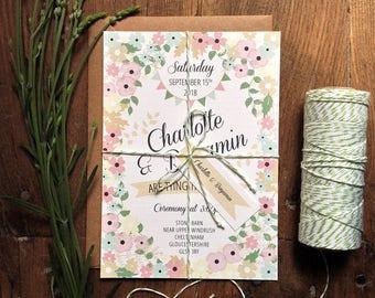 Printable Wedding Invitation Set   Country Style Wedding Invitation   DIY Wedding Invitation   Printable Invitations