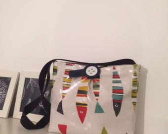 """The Sardines"" waxed canvas handbag"