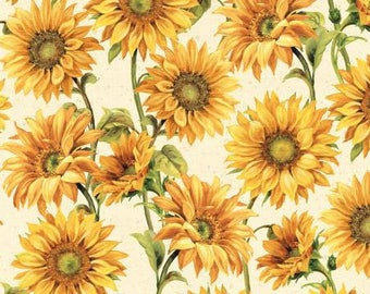 Follow the Sun Cream Large Packed Sunflowers by Lisa Audit for Wilmington Prints, quilting cotton fabric by metre by yard floral 86429-157