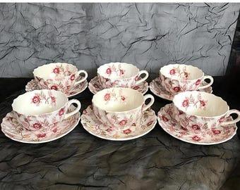 sale vintage copeland spode set of 6 footed cups u0026 saucers