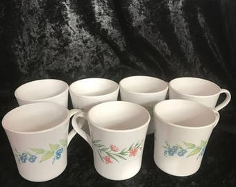 CHRISTMAS SALE Corelle My Garden Flowers Coffee Mugs HTF Floral Retired Pattern Made in Usa