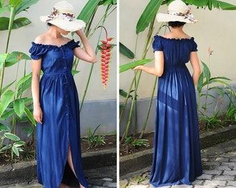 Long Dress, Maxi Summer Dress, Navy Dress, Off Shoulder Dress, Maternity Dress, Baby Shower Dress, Maternity Photoshoot Dress, Gift for Her