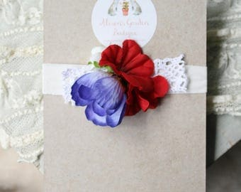Red White And Blue Floral Jersey Tieback- Newborn to Toddler- Photography Prop- 4th of July- Independence Day Prop Headband