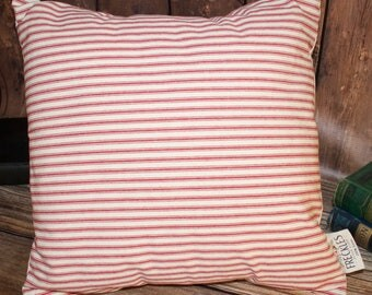 Red and Cream Striped Pillow COVER ONLY.  Red Stripe Ticking Pillow. Decorative Pillow. Farmhouse Decor. Throw Pillow. Farmhouse Decor