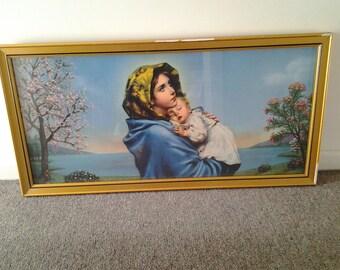 Vintage Large Framed Virgin Mary and Baby Jesus Print