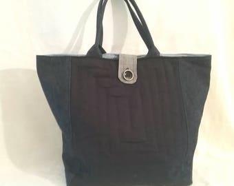 Blue linen bag