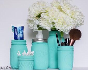 Blue Mason Jar Bathroom Set of 5 - Turquoise Bathroom Set