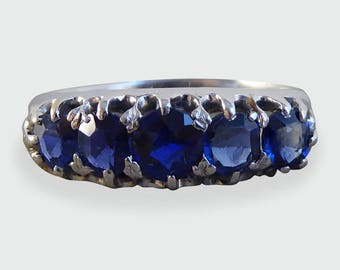 Antique Edwardian Five Stone Sapphire Gold Ring RG243