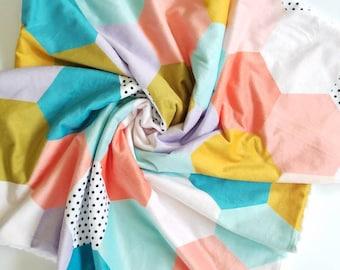 Modern Hexagon Baby Blanket, Hexagon Minky Blanket, Baby Girl Blanket, Toddler Girl Blanket, Minky Blanket, Stroller Blanket, Baby Gift