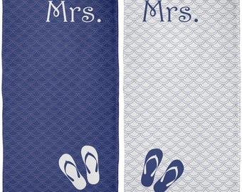 Mrs & Mrs Lesbian LGBT Honeymoon Navy All Over Beach Towel Set