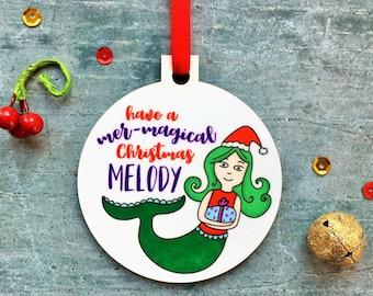 Mermaid Christmas Ornament, Custom Ornament, Have A Mer-Magical Christmas, Christmas Eve, Gift For Daughter, Mermaid Gift, Mermaid Bauble