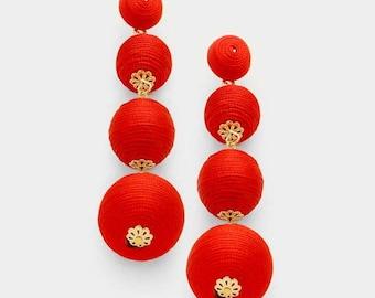 Bon Bon Earrings, Red Bon Bon Earrings, Les Bonbons, Ball Earrings, Triple Ball Earrings, Gumdrop Earrings, Bon Bons, Ball Drop Earrings