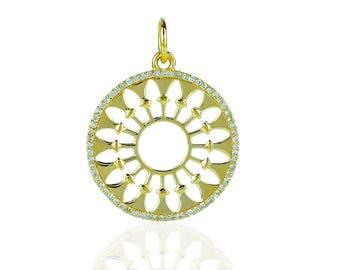 14K Yellow gold diamond charm