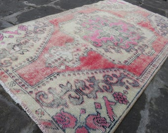 Area Rug Turkish Rugs 3.5x 6.2 ft  Turkish Rug Antique Rug Low Pile Rug Cappadocia Rug