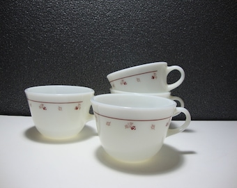 Pyrex Corning Tea Cups White with Burgundy Rose Design Set of 4 Vintage Coffee Cups