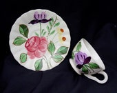 Blue Ridge JUNE BOUQUET Cup and Saucer Set Southern Potteries Hand Painted Colonial Dinnerware Purple Pink Yellow Flowers (B17) 7740