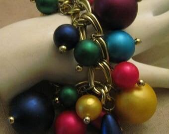HUGE Colorful Faux Pearl Bracelet W. Double Gold Tone Metal Large Chain Links Toggle Clasp Cha Cha Carmen Miranda Fruit Salad Style bracelet