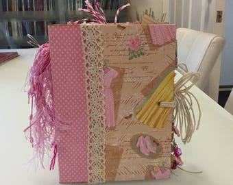Handmade Pretty In Pink Vintage Mini Album, Junk Journal, Stack The Pages, Scrapbook, Unique Keepsake With Butterfly Charm Dangle