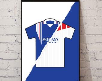 96-97 Rangers Home x 96-97 Away Print