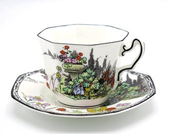 Radford Garden Path Teacup and Saucer, Vintage Teacup and Saucer, Garden Teacup, Fine Bone China