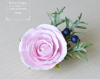 Pink rose hair clip Flower Girl hair accessories Gift for women bridesmaid gift Rustic Wedding hair barrette gift for bride Flower for hair