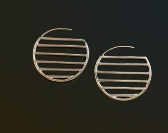Lines and Shapes Single Circle, Sterling Silver