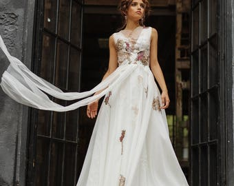 Floral wedding dress etsy for Bright colored wedding dresses