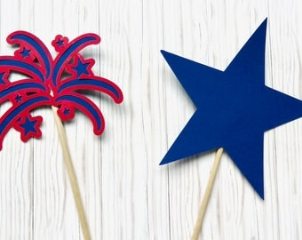 Fourth of July Centerpieces, Star Centerpieces, Firework Centerpieces, 4th of July Centerpieces, 4th of Cake Topper, Paper Centerpiece