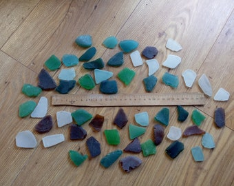 Pound of 3-5 cm (1-2 in) DIY genuine sea glass, beach glass for craft, mosaic, home decor, multicolored glass set