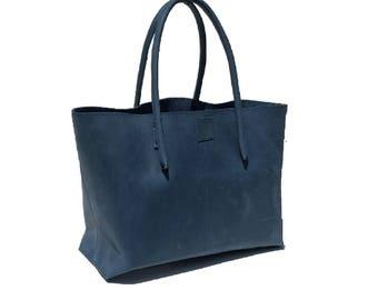 Leather bag, Ledershopper, Big shopper, used look leather blue, handmade
