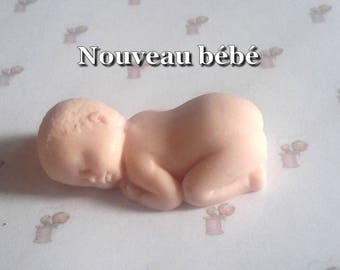 Naked baby asleep in Fimo baked and ready to be dressed up new model